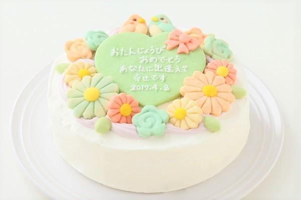 お花畑のメッセージケーキ☆国産小麦粉使用の優しい色と味わい 5号 15cmの画像1枚目