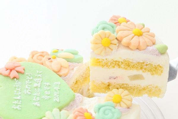 お花畑のメッセージケーキ☆国産小麦粉使用の優しい色と味わい 6号 18cmの画像3枚目