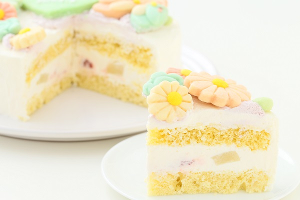 お花畑のメッセージケーキ☆国産小麦粉使用の優しい色と味わい 5号 15cmの画像5枚目