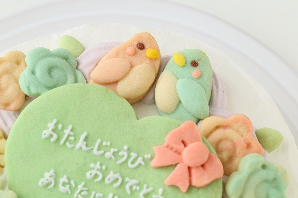お花畑のメッセージケーキ☆国産小麦粉使用の優しい色と味わい 5号 15cmの画像7枚目