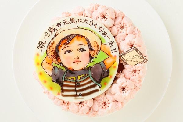 お野菜畑のヨーグルトクリームケーキ(トマト)似顔絵 4号 12cm