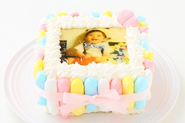 お好きな色が選べる!カラフルフォトケーキ 15×15cmの画像1枚目