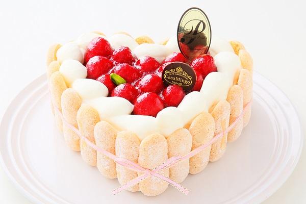 最高級洋菓子 特注ハート型シュス木苺レアチーズケーキ 14cmの画像3枚目