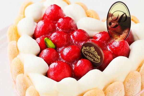 最高級洋菓子 特注ハート型シュス木苺レアチーズケーキ 14cmの画像10枚目