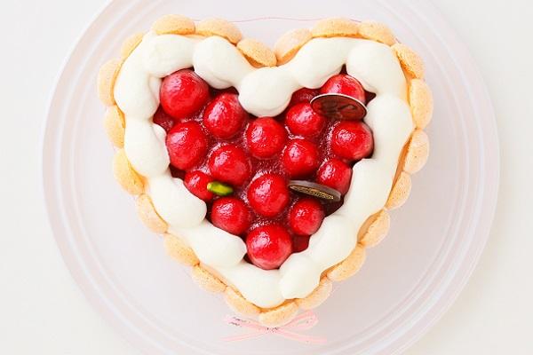 最高級洋菓子 特注ハート型シュス木苺レアチーズケーキ 14cmの画像4枚目