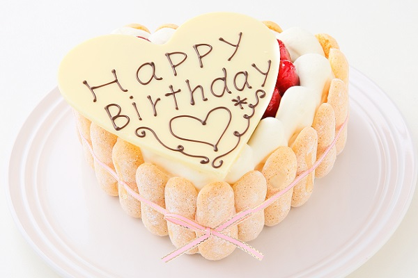 最高級洋菓子 特注ハート型シュス木苺レアチーズケーキ 14cm