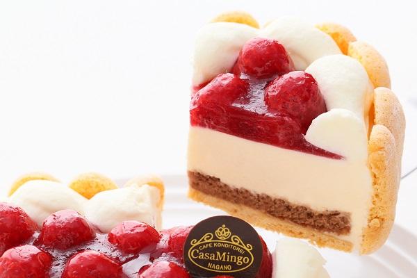 最高級洋菓子 特注ハート型シュス木苺レアチーズケーキ 14cmの画像5枚目
