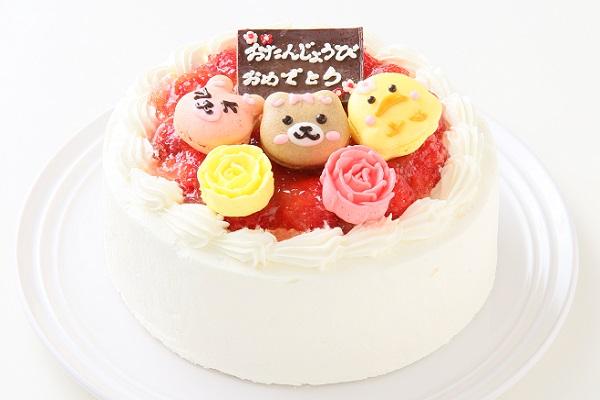動物マカロン苺ショートケーキ 3個付き 4号 12cm