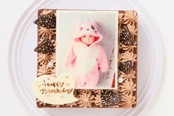 スクエア型フォトチョコ生クリームデコレーションケーキ 11cmの画像1枚目