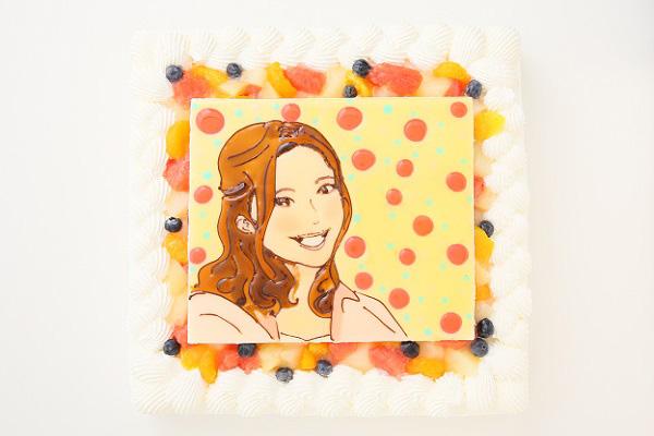 似顔絵大型ケーキ 24×24cm 20~23名様向けの画像1枚目
