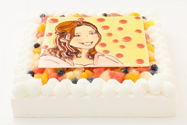 似顔絵大型ケーキ 24×24cm 20~23名様向けの画像2枚目