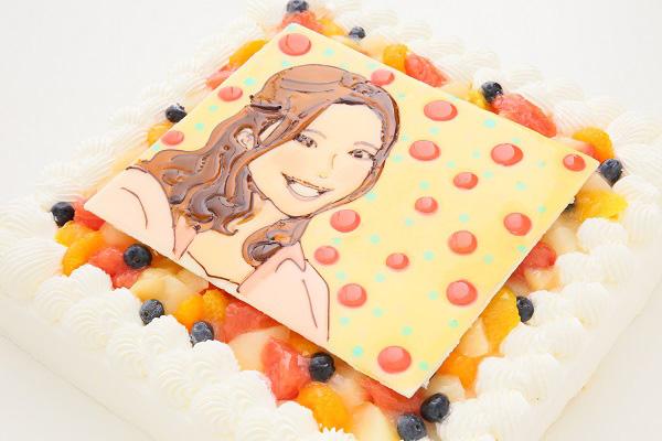 似顔絵大型ケーキ 24×24cm 20~23名様向けの画像7枚目