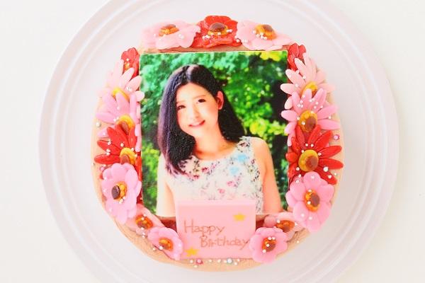 小麦粉除去 お花いっぱいフォトケーキ チョコ生クリーム 5号 15cmの画像1枚目