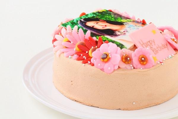 お花いっぱいフォトケーキ チョコ生クリーム 5号 15cmの画像8枚目