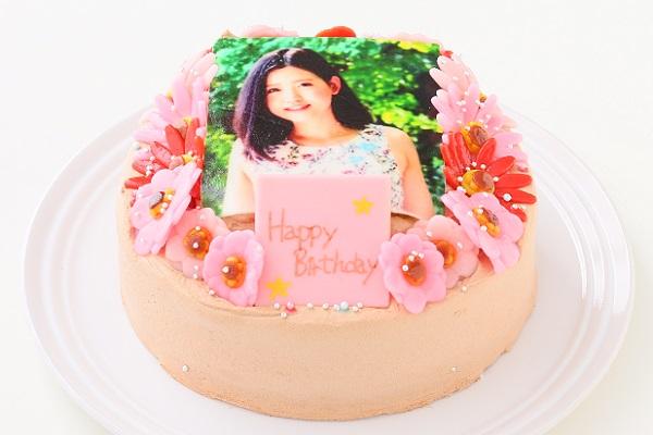 お花いっぱいフォトケーキ チョコ生クリーム 5号 15cmの画像2枚目