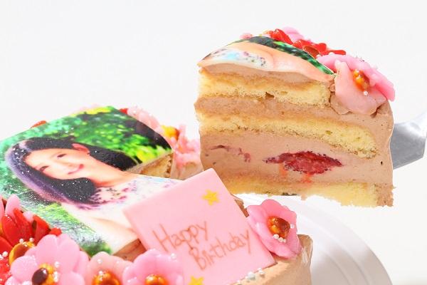 小麦粉除去 お花いっぱいフォトケーキ チョコ生クリーム 5号 15cmの画像3枚目