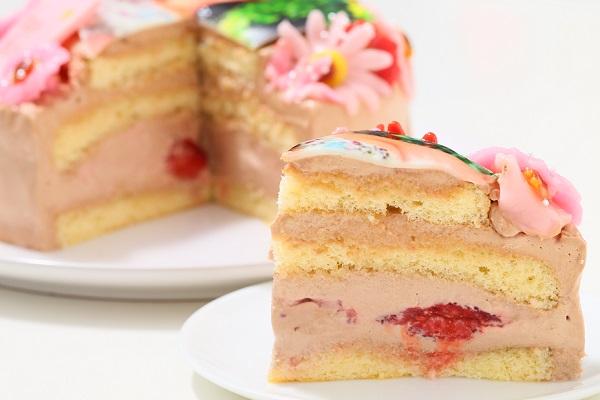 お花いっぱいフォトケーキ チョコ生クリーム 5号 15cmの画像5枚目