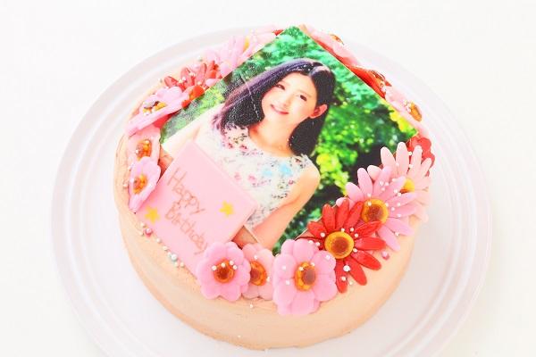 小麦粉除去 お花いっぱいフォトケーキ チョコ生クリーム 5号 15cmの画像6枚目