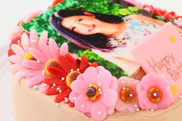 小麦粉除去 お花いっぱいフォトケーキ チョコ生クリーム 5号 15cmの画像8枚目
