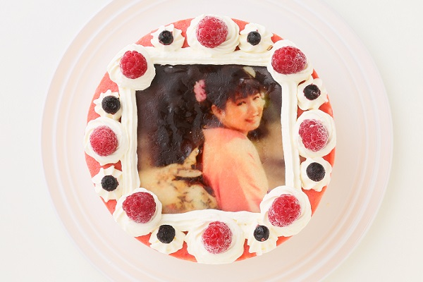 アイスフォトケーキ バニラ&キイチゴのピューレ 5号 15cmの画像1枚目