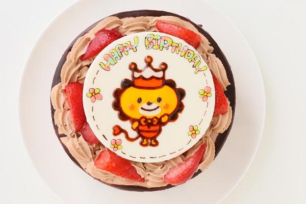キャラクターイラストケーキ チョコ生クリーム 5号 15cmの画像1枚目