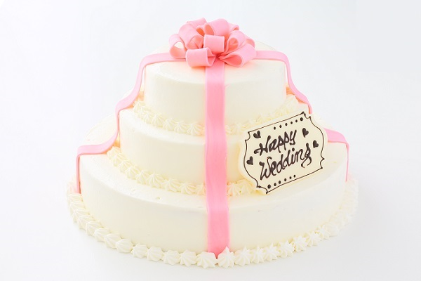 リボンカラーが選べる丸型 プレゼントボックスケーキ 3段 10号×7号×5号の画像1枚目