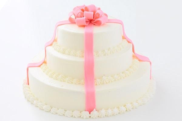 リボンカラーが選べる丸型 プレゼントボックスケーキ 3段 10号×7号×5号の画像3枚目