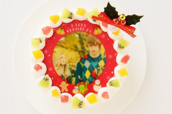 クリスマスケーキ2017 3種類から選べる 丸型写真ケーキ 6号 18cmの画像1枚目