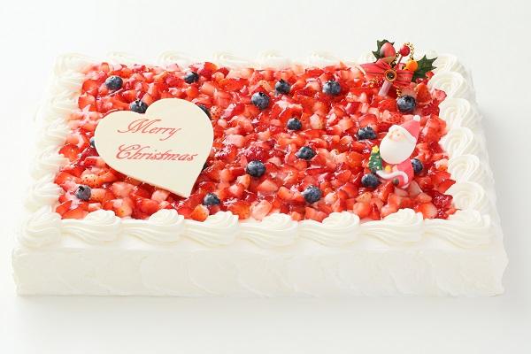 クリスマスケーキ2017 イチゴたっぷりパーティデコレーションケーキ 30×30cmの画像1枚目