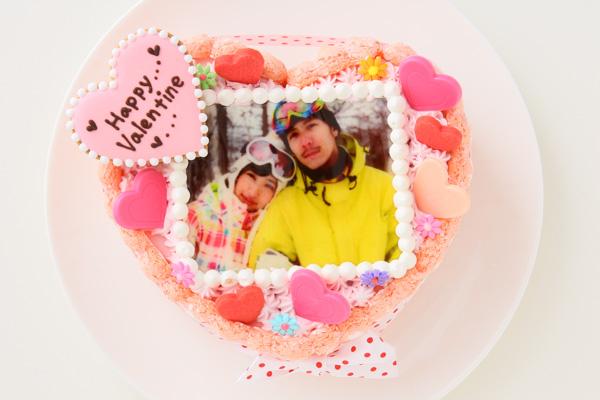 バレンタイン ピンクのビスキュイハ-ト型 苺生クリ-ム 5号 15cmの画像1枚目