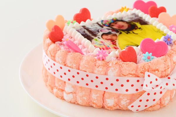 バレンタイン ピンクのビスキュイハ-ト型 苺生クリ-ム 5号 15cmの画像10枚目