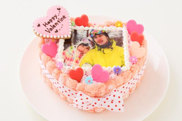 バレンタイン ピンクのビスキュイハ-ト型 苺生クリ-ム 5号 15cmの画像2枚目