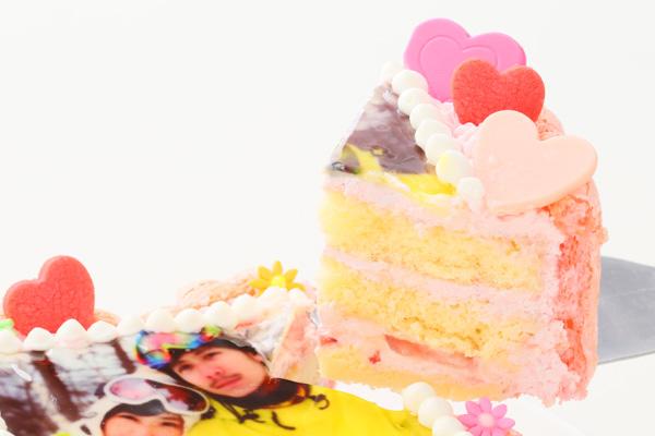 バレンタイン ピンクのビスキュイハ-ト型 苺生クリ-ム 5号 15cmの画像3枚目