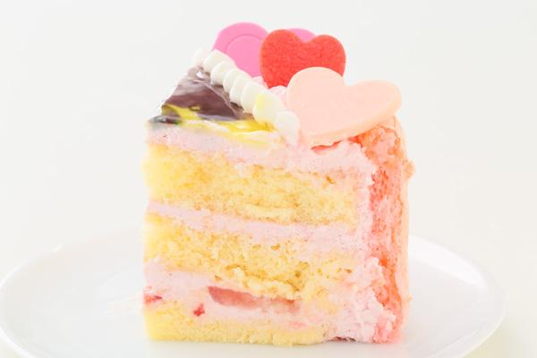 バレンタイン ピンクのビスキュイハ-ト型 苺生クリ-ム 5号 15cmの画像4枚目