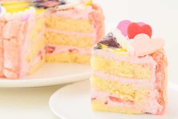 バレンタイン ピンクのビスキュイハ-ト型 苺生クリ-ム 5号 15cmの画像5枚目