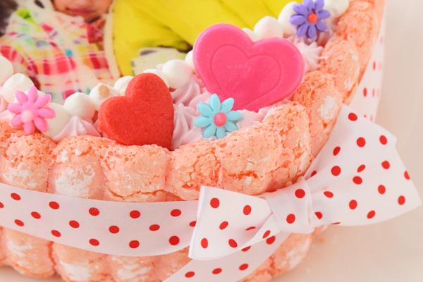 バレンタイン ピンクのビスキュイハ-ト型 苺生クリ-ム 5号 15cmの画像9枚目