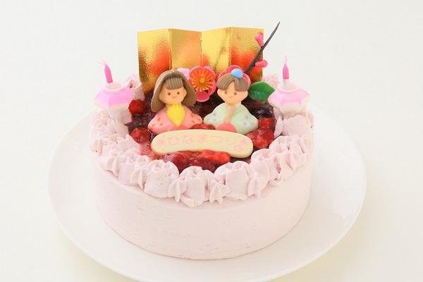 ミックスベリーの桃色お雛様ケーキ 5号 15cmの画像1枚目