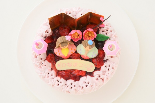ミックスベリーの桃色お雛様ケーキ 5号 15cmの画像2枚目