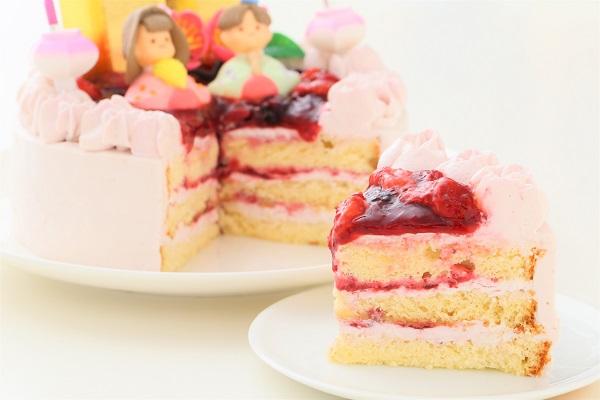 ミックスベリーの桃色お雛様ケーキ 5号 15cmの画像5枚目