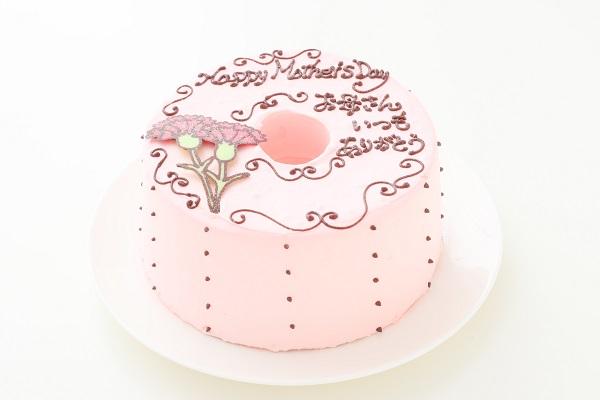 母の日 お手紙ケーキ カーネーション ピンク  直径17cmの画像1枚目