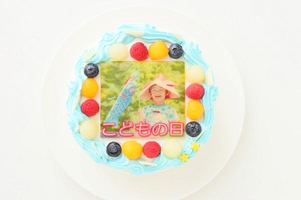 こどもの日 メッセージが入る写真ケーキ 5号 15cmの画像1枚目