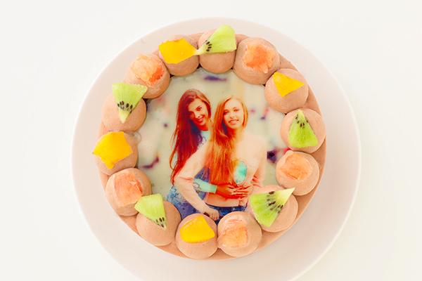 写真ケーキ チョコ生 丸型 4号 12cm