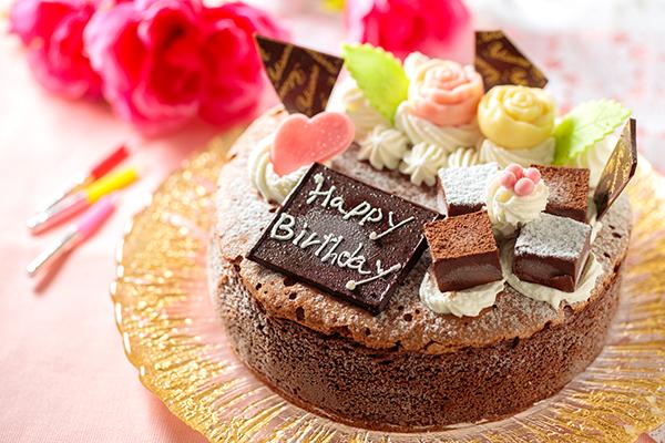チョコ薔薇飾り魅惑のガトーショコラ 4号 12cm