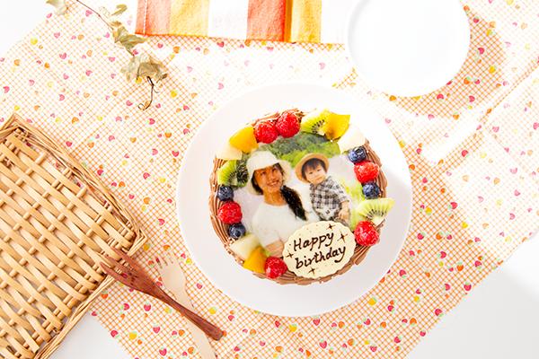 贅沢苺2段サンド 写真ケーキ チョコクリーム 5号 15cmの画像1枚目