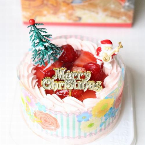 クリスマスケーキ2020 ストロベリー色の生クリーム苺デコ4号/苺2段サンド