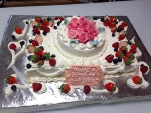 薔薇ケーキ2段 20×28cm