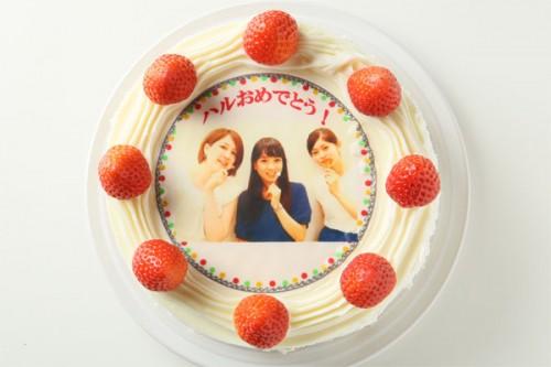 冷蔵発送の苺付き写真ケーキ 5号