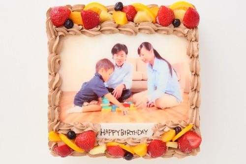 写真ケーキチョコクリーム 7号サイズ 22m×22cm