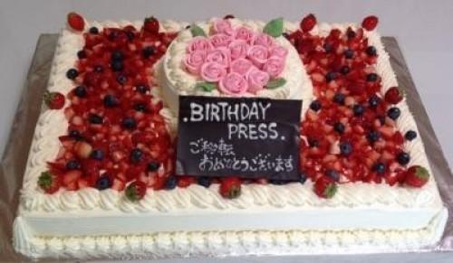 薔薇のケーキ2段 40x60cm