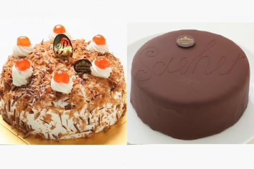 最高級洋菓子 シュヴァルツベルダーキルシュトルテ 15cm & ウィーンの銘菓ザッハトルテ 12cm セット